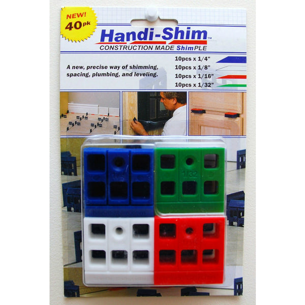 Handi-Shim™ HS4010A Plastic Shim for Construction Applications, Assorted Colors, 40-PC