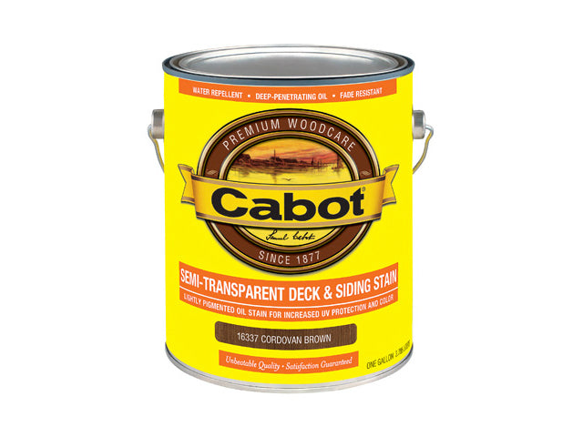 Cabot® 16337-07 Semi-Transparent Deck & Siding Stain, Cordovan Brown, 1 Gallon
