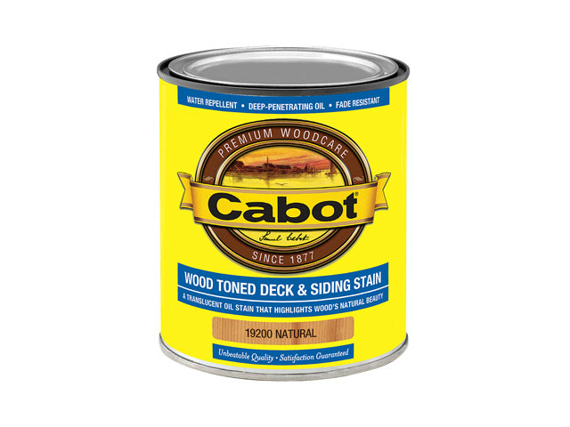 Cabot® 19200-05 Wood Toned Deck & Siding Stain, Natural, 1 Qt