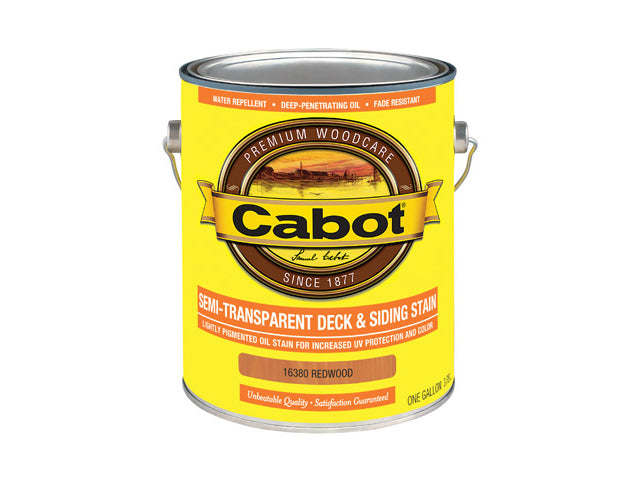 Cabot® 16380-07 Semi-Transparent Deck & Siding Stain, Redwood, 1 Gallon