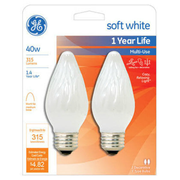 GE Lighting 75342 Flame Tip F15 Multi-Use Light Bulb, Soft White, 40W, 2-Pack