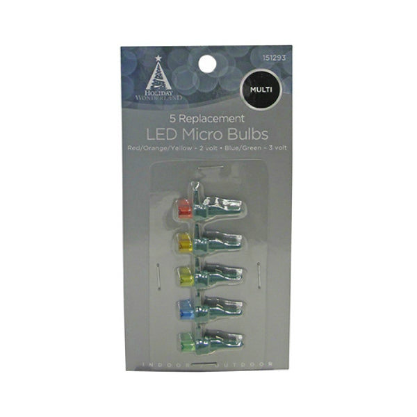Holiday Wonderland® 11206-88 Micro LED Replacement Bulbs, Multi Color, 5-Pack