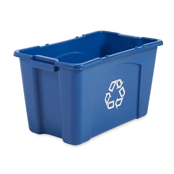 Rubbermaid® Commercial 5718-73-BLUE Stackable Recycling Box, 18 Gallon, Blue