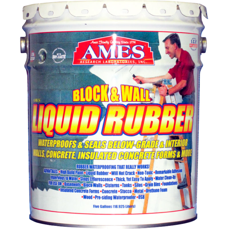 Ames® Research BWRF5 Water Base Block/Wall™ Liquid Rubber Coating, 5 Gal, White