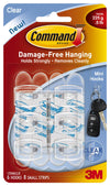 Command 17006CLR Mini Hooks with Adhesive Strips, Clear, 6 Hooks & 8 Strips
