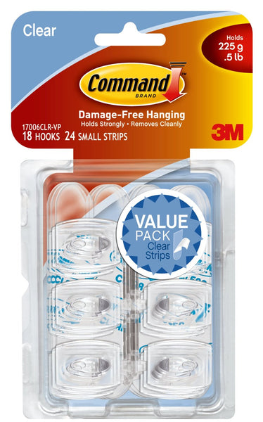 Command 17067CLR-VP Wire Hooks Value Pack, Clear, Small, 9 Hooks & 12 Strips
