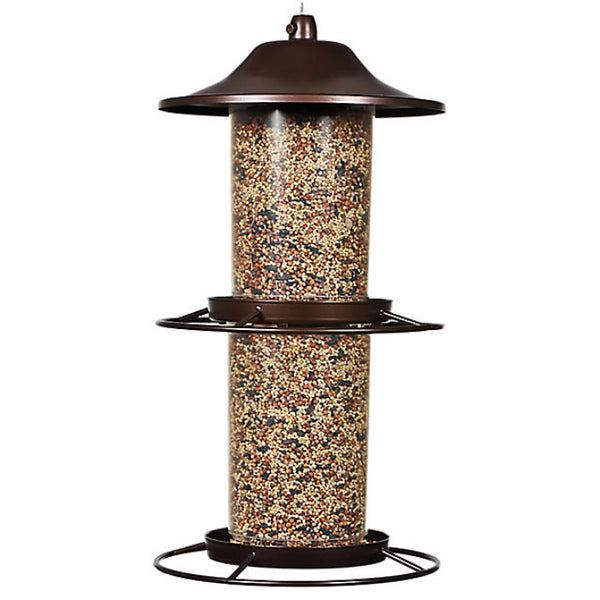 Perky-Pet® 325S 2-Tier Panorama Bird Feeder, Rustic Brown, 17""