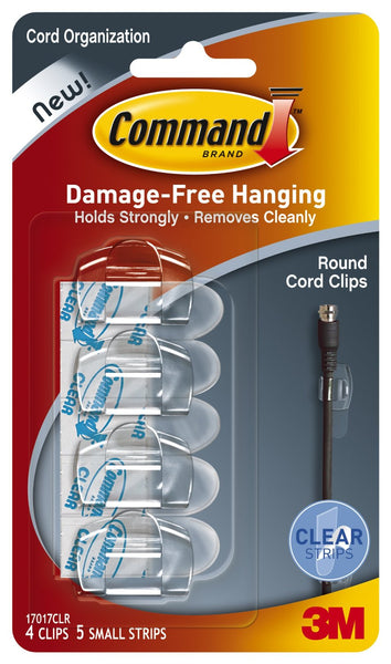 Command™ 17017CLR Round Cord Clips, Clear, 4 Clips & 5 Strips