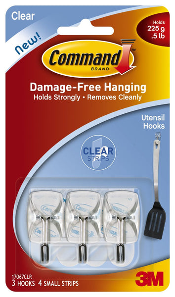 Command™ 17067CLR Utensil Wire Hooks with Adhesive Strips, Clear, 3 Hooks & 4 Strips