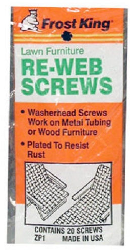 Frost king ZP1 Webbing Screws, 20-Pack