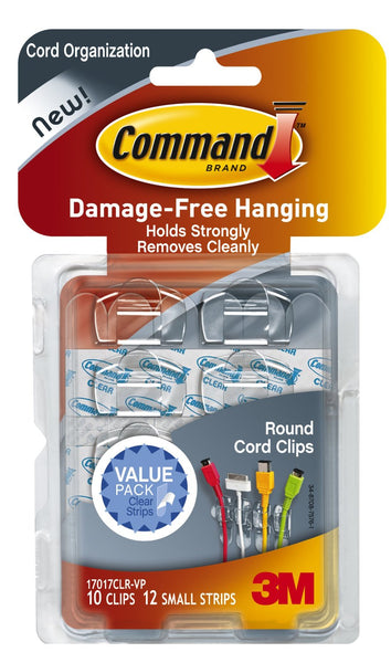 Command™ 17017CLR-VP Round Cord Clips Value Pack, Clear, 10 Clips & 12 Strips