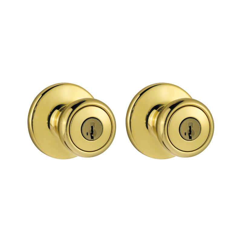 Kwikset® 243T-3-CP-CODE-K2 Keyed Alike Combo Pack Knob, Polished Brass, 2-Pack
