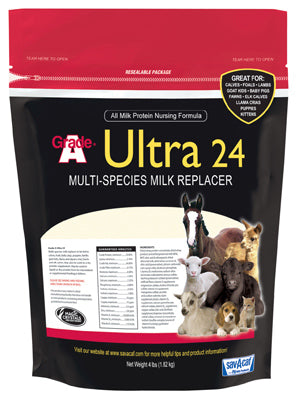 Sav-A-Caf Grade A Ultra 24 Multi-Species Milk Replacer, 4 Lb
