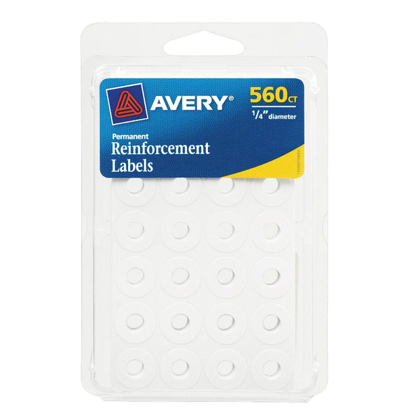"Avery® 06734 Self-Adhesive Reinforcement Labels, 1/4"" Round, White, 560-Count"