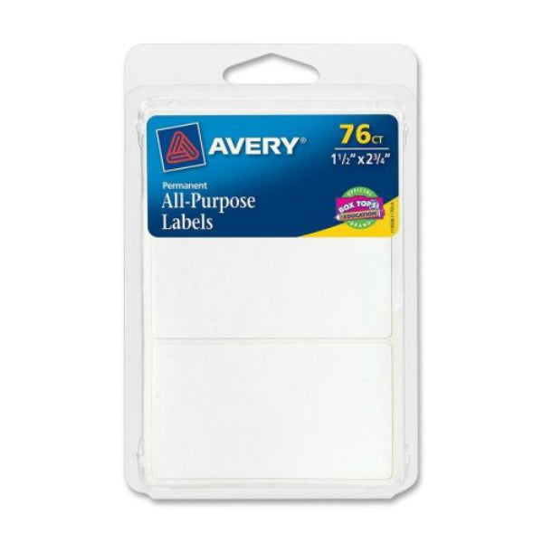 "Avery® 06117 Permanent All-Purpose Rectangle Labels, 1-1/2"" x 2-3/4"",White,76-Ct"