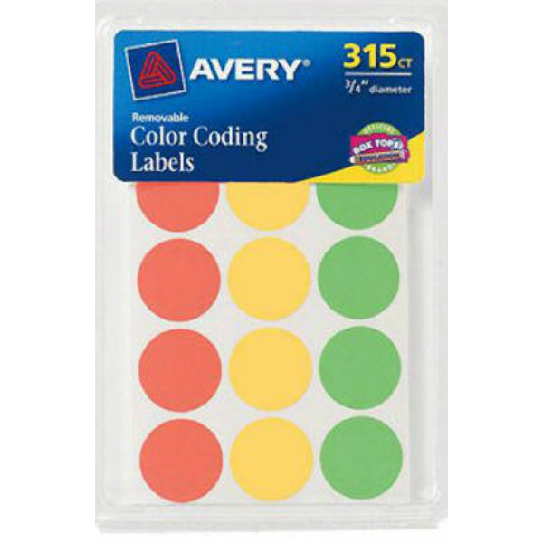 "Avery® 06733 Assorted Neon Color-Coding Labels, 3/4"" Round, 315-Count"
