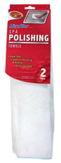 "Detailer's Choice® 3-508 Microfiber Spa Polishing Towel, 16"" x 16"", White, 2-Pack"