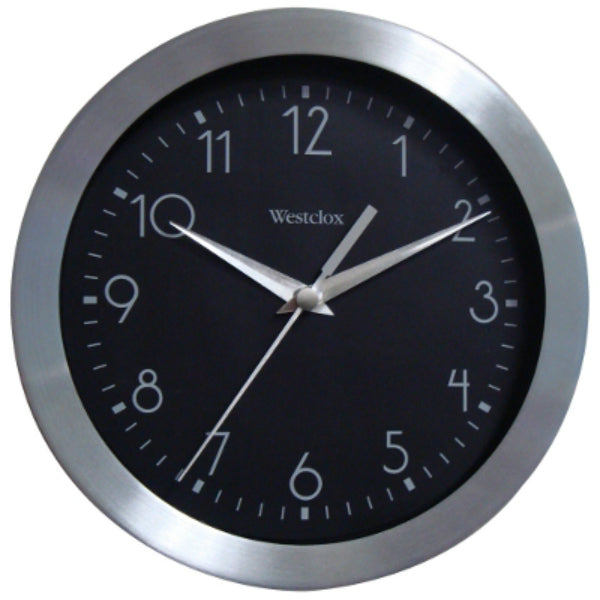 Westclox® 36001 Round Wall Clock, Black Dial with Silver Numerals, 9""