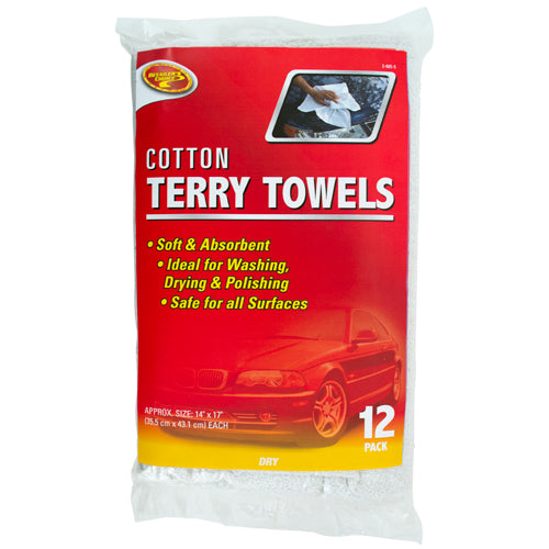"Detailer's Choice® 3-685-58 Cotton Terry Towels, White, 14"" x 17"", 12-Pack"