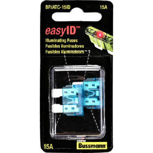 Cooper Bussmann BP-ATC-15ID Easy ID Illuminated Blade Auto Fuse, 15A, 2-Pack