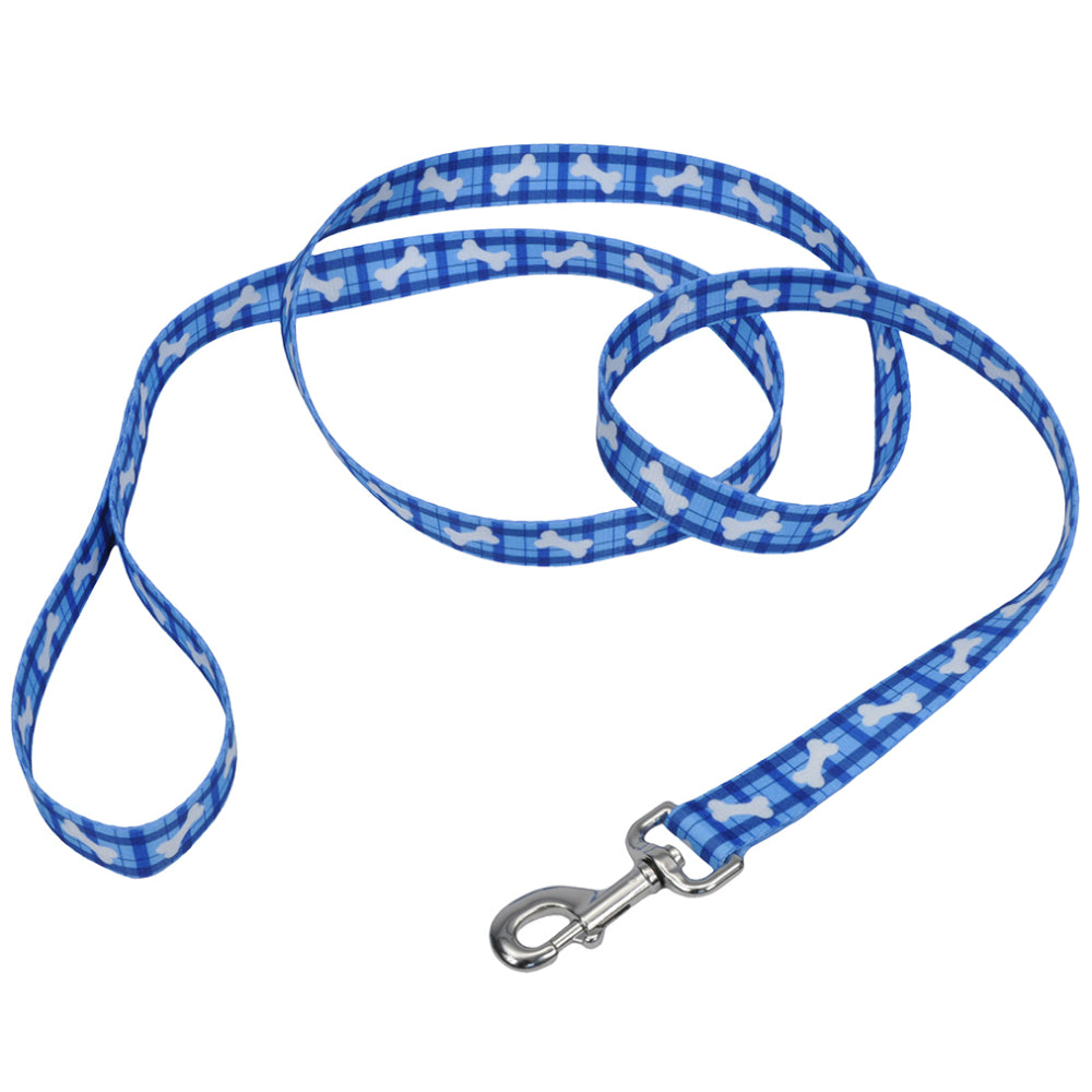 "Pet Attire® 00966-PBO06 Nylon Fashion Leash for Dog, 1"" x 6', Plaid Bones"