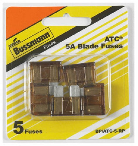 Cooper Bussmann BP-ATC-5-RP Fast Acting Blade Auto Fuse, 5A, 32VDC