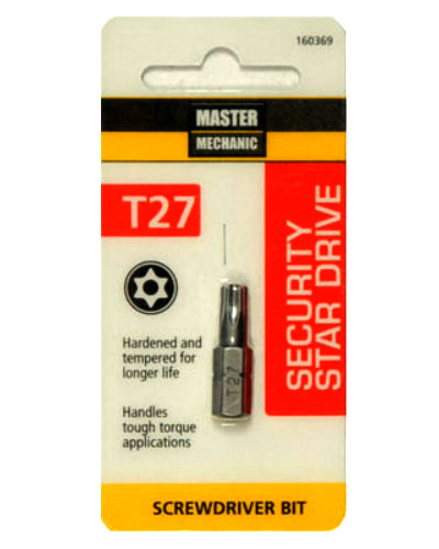 Master Mechanic 160369 Security Star Drive T27 Torx Bit, 1""