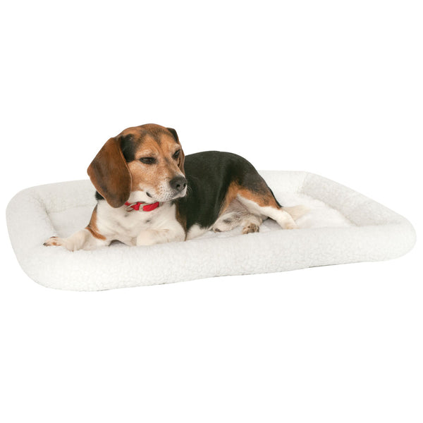 "MidWest® 40230 Quiet Time® Bolster Pet Bed, White Fleece, 30"" x 21"""