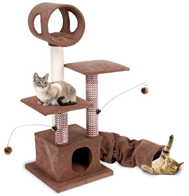 Penn Plax CATF18 Activity Lounging Tower and Tunnel with Hide-Away
