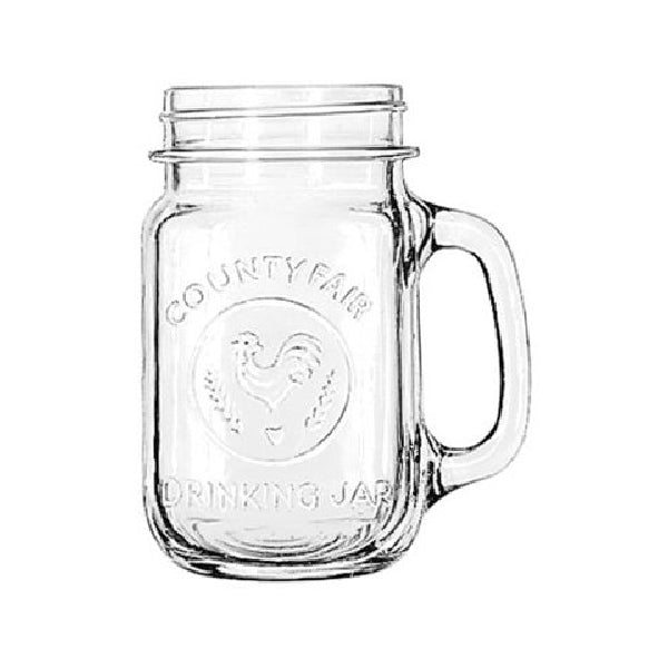 Libbey® Glass 97085 County Fair Mason Drinking Jar, 16.5 Oz