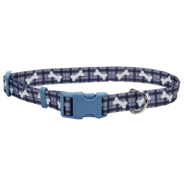 "Coastal Pet® 06402-A-PBO18 Adjustable Nylon Dog Collar, Plaid Bone, 5/8""x12""-18"""