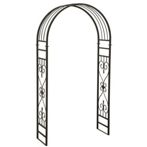 Sunjoy L-AB213PST Rounded Arch Design Steel Arbor, Black