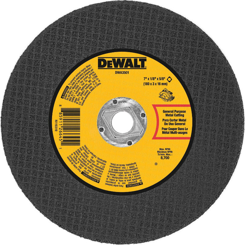 "DeWalt® DWA3501 Metal Cutting Abrasive Saw Blade, 7"" x 1/8"" x 5/8"""