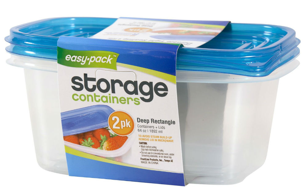 Easy Pack™ 8069 Deep Rectangle Reusable Containers with Lids, 64 Oz, 2-Pack