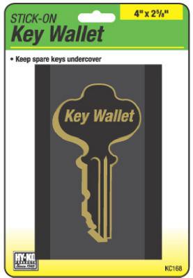 "Hy-Ko KC168 Stick-On Key Wallet, 4"" x 2-5/8"", Black"