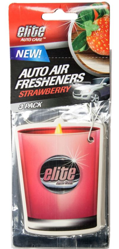 Elite Auto Care™ 8988 Hanging Candle Auto Air Freshener, Strawberry Scent, 3-Pack