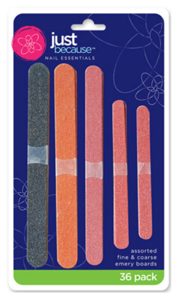 Just Because™ 9890 Emery Boards, Assorted Colors & Grit, 36-Pack