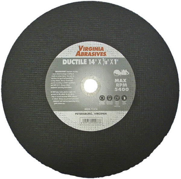 "Virginia Abrasives™ 424-10914 Ductile Iron Bonded Cutoff Wheel, 14""x1/8""x20 mm"