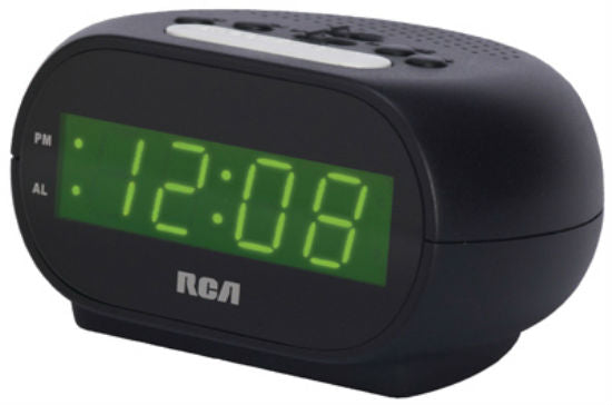 "RCA RCD20 Streamlined Alarm Clock, 0.7"" Green LED Display"