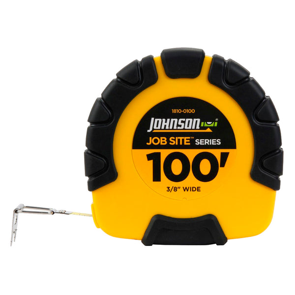 "Johnson Level 1810-0100 Job Site™ Geared Closed Case Steel Tape, 3/8"" x 100'"