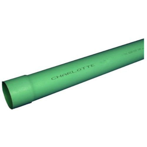 "Charlotte Pipe® S/M060060600 35 PVC Sewer Pipe, Bell End, 6"" x 10', Green"