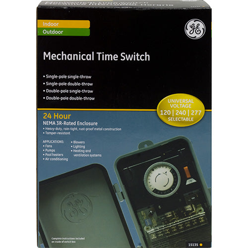 GE 15135 Indoor/Outdoor Mechanical Box Timer Switch, Gray