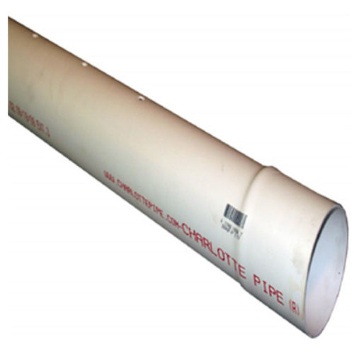 "Charlotte Pipe® PVC30040P0600HC Perforated PVC Sewer & Drain Pipe, Bell End,4""x10'"