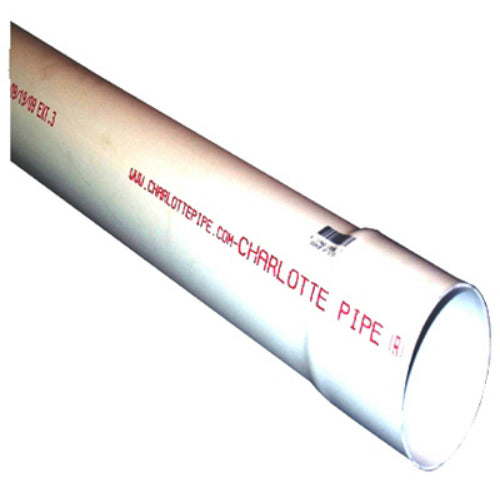 "Charlotte Pipe® PVC300300600 Sewer & Drain PVC Pipe, Bell End, 3"" x 10'"