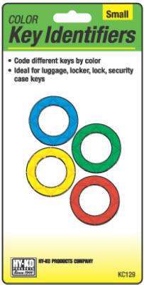 Hy-Ko KC129 Multi-Colored Push Button Key Identifiers, Small, Assorted, 4-Pack
