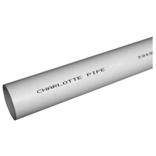 "Charlotte Pipe® PVC044000600 Schedule 40 PVC Pipe, Plain End, 4"" x 10'"