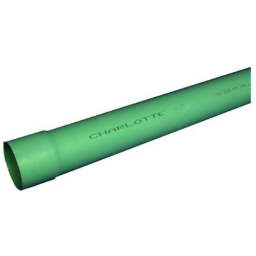 "Charlotte Pipe® S/M060040600 SDR 35 PVC Sewer Pipe, Bell End, 4"" x 10', Green"