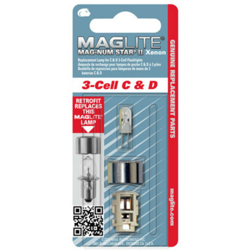 Maglite LMXA301 Magnum Star II Xenon Replacement Lamp for C & D 3-Cell Flashlight