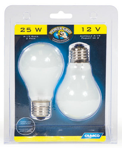 Camco 54892 Power Grip A-19 House Type Bulb, 25W, 12V, 2-Pack