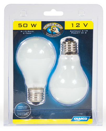 Camco 54894 Power Grip A-19 House Type Bulb, 50W, 12V, 2-Pack
